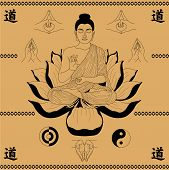 foto of mudra  - Buddha sitting in the lotus and Mudra hands on a beige background - JPG