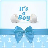 picture of ribbon bow  - Its a boy - JPG