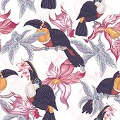 image of toucan  - Beautiful Vintage Tropical Seamless Background with Exotic Flowers and Toucan - JPG