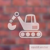 foto of power-shovel  - Vector excavator icon on brick wall blurred background - JPG