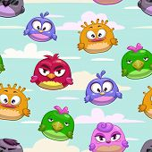 foto of angry bird  - Vector seamless pattern with cartoon funny birds in the sky - JPG