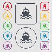 pic of brigantine  - ship icon sign - JPG