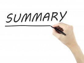 pic of summary  - summary word written by man - JPG