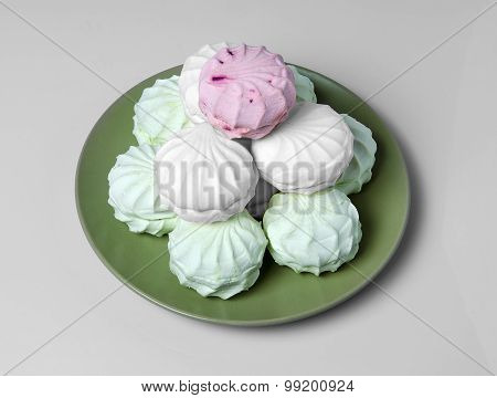 Marshmallow In A Green Plate