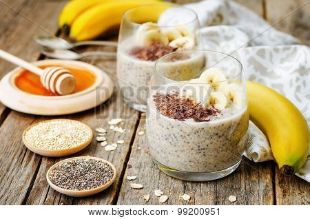 Overnight Banana Oats Quinoa Chia Seed Pudding Decorated With Banana And Chocolate