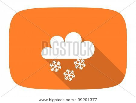 snowing flat design modern icon with long shadow for web and mobile app