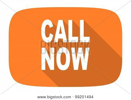 call now flat design modern icon with long shadow for web and mobile app