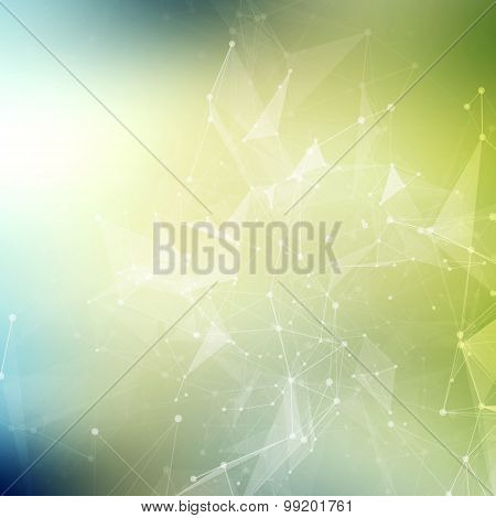 Abstract geometric background. Wireframe mesh polygonal background. Abstract form with connected lin