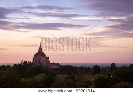 Colorful Dramatic Sunset Of Ancient Temple In Bagan