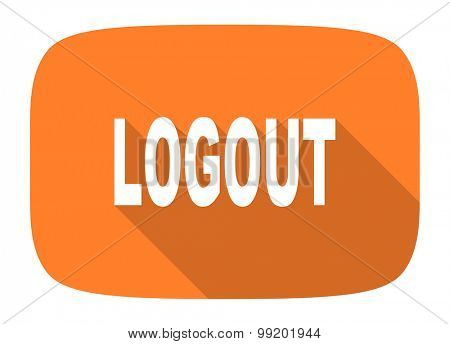 logout flat design modern icon with long shadow for web and mobile app