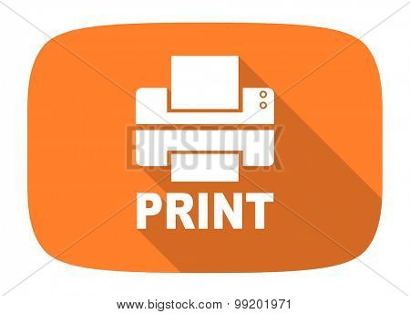 printer flat design modern icon with long shadow for web and mobile app