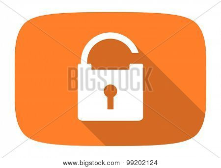 padlock flat design modern icon with long shadow for web and mobile app