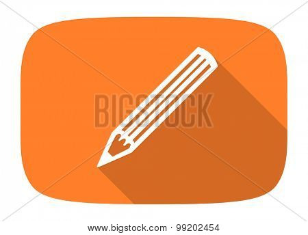 pencil flat design modern icon with long shadow for web and mobile app