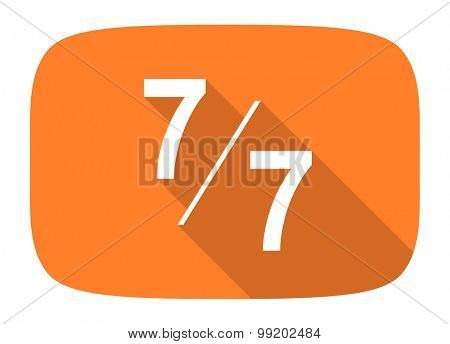 7 per 7 flat design modern icon with long shadow for web and mobile app
