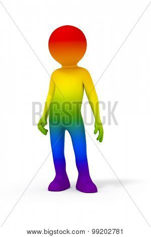 An image of a man in rainbow colors