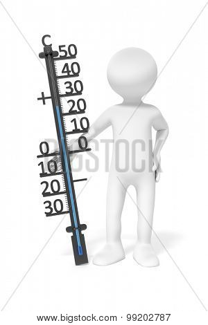 An image of a simple 3d man holding a thermometer
