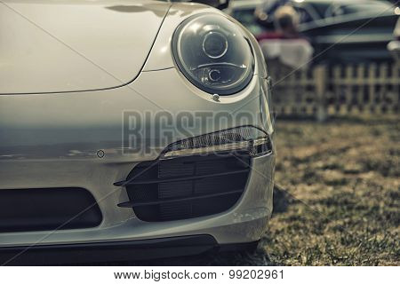 Sleza, Poland, August 15, 2015: Close Up On Porsche 911 Carrera S Car On Motorclassic Show On August