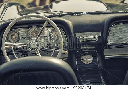 Sleza, Poland, August 15, 2015: Close Up On Old Vintage Car Steering Wheel And Cockpit On  Motorclas