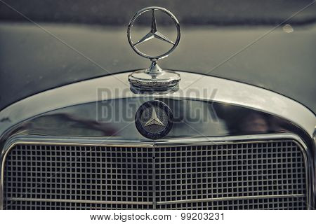 Sleza, Poland, August 15, 2015: Close Up On Old Vintage Mercedes Star Sing On Motorclassic Show On A