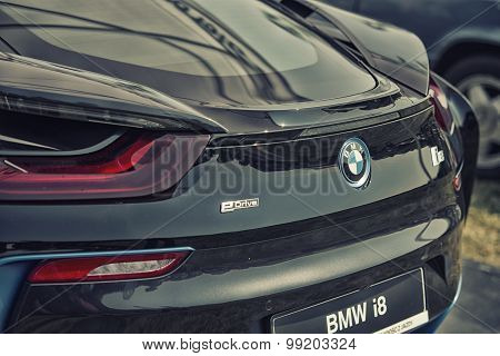Sleza, Poland, August 15, 2015: Close Up Bmw I8 Plug-in Hybrid Sports Car On Motorclassic Show On Au