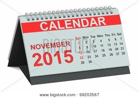November 2015, Desk Calendar
