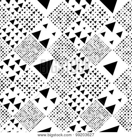 Seamless Triangle and Square Pattern. Abstract Monochrome Background. Vector Regular Texture