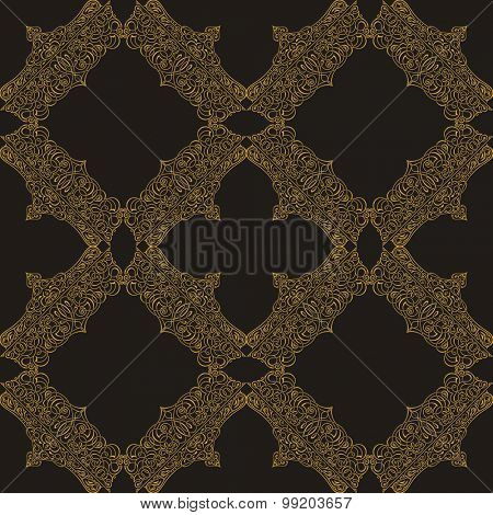 Seamless background in Arabic style. Gold patterns in black wallpaper for design. Traditional oriental decor tile