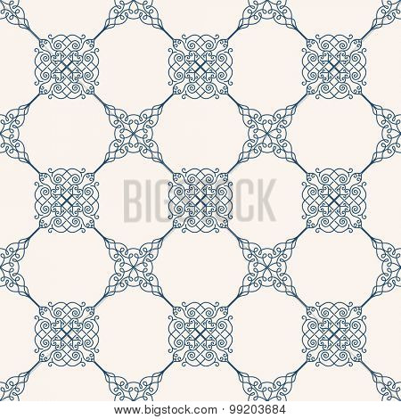 Seamless background in Arabic style. Blue patterns in white wallpaper for textile design. Traditional oriental decor