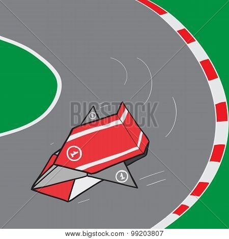 Origami Car In The Race. Cartoon Origami Paper Car. Vector Illustration.