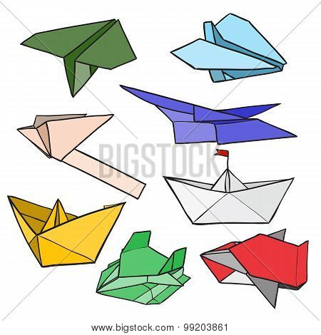 vector origami boats, planes, car and space ship