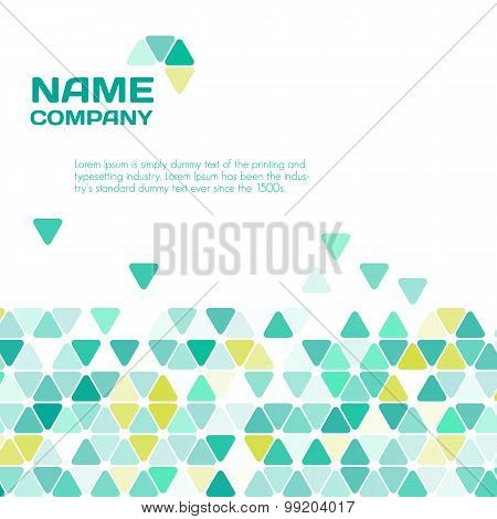 Abstract geometric background. Abstract template background with green triangle shapes