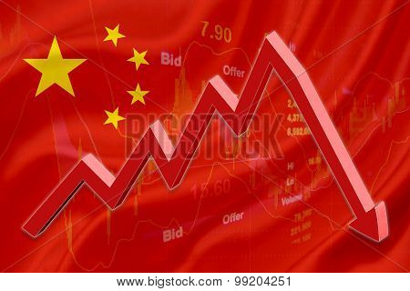 Flag Of China With A Red Downtrend Arrow.