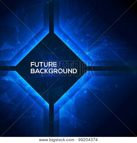 Deep blue geomepric abstract technology background.