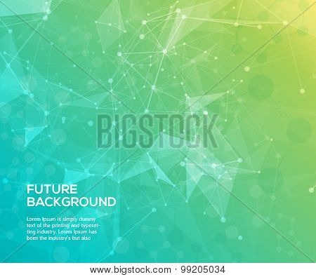 Abstract polygonal  background with connecting dots and lines.