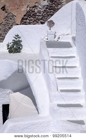 White Architecture Details Of Santorini Island, Greece