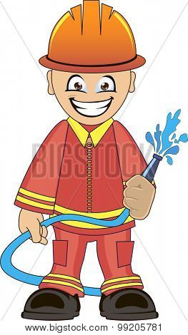 Cartoon illustration of a firefighter in uniform with fire hose