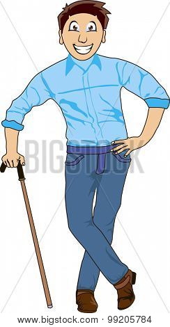 Funny cartoon illustration of a smiling man with cane