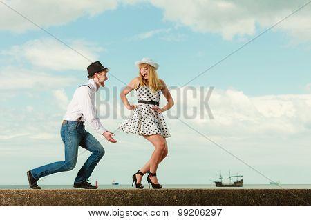 Loving Couple Retro Style Dating On Sea Coast