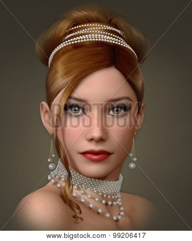 Beauty With Pearls, 3D Cg