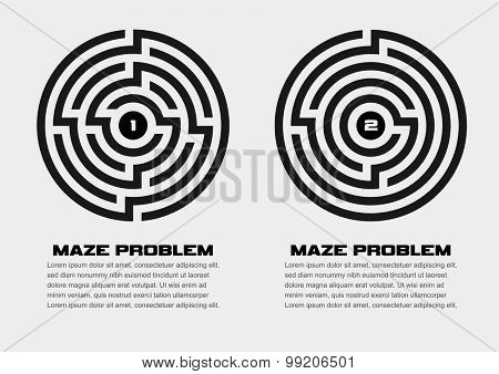 Vector illustration of two maze problems