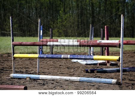 Equitation Obstacles And Barriers On A Training Track
