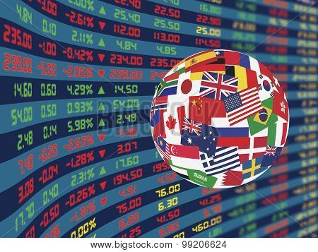 A large display of daily stock market price and quotations during normal economic period with decorative crystal ball flags of main country in the world