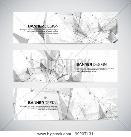 Vector banners set polygonal abstract shapes, circles, lines, triangles
