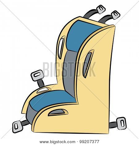 An image of a cartoon child safety car seat.