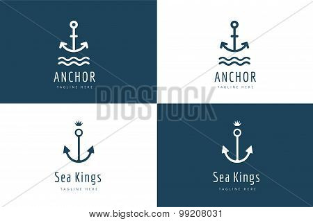 Anchor vector logo icon set. Sea, vintage or sailor and sea symbol