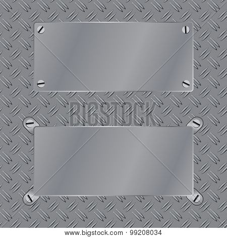 Steel frame on pattern texture metal floors bare