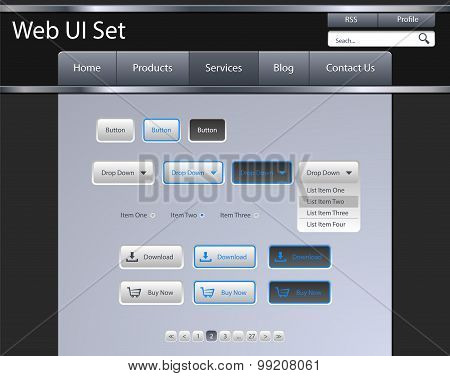 Ui Set for you web site, grey, blue