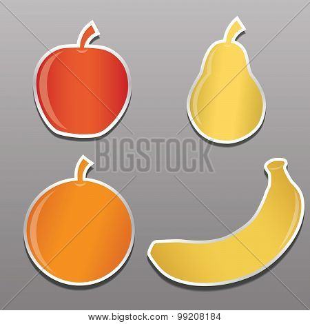 four stickers with the image of fruit, apple, pear, banana, oran
