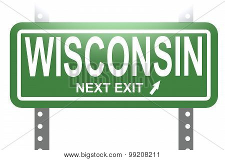 Wisconsin Green Sign Board Isolated