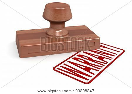 Wooden Stamp Warranty With Red Text